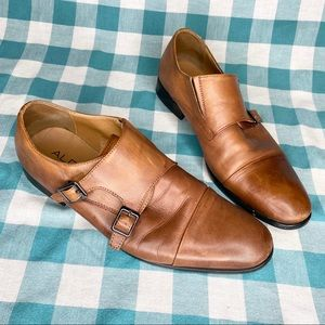 Aldo Brown Cognac Double Buckle Monk Strap Shoes